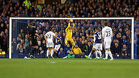 Liverpool, UK. Saturday 01 November 2014<br /> Pictured: Goalkeeper Lukasz Fabianski of Swansea catches on as the ball from an Everton shot.<br /> Re: Premier League Everton v Swansea City FC at Goodison Park, Liverpool, Merseyside, UK.