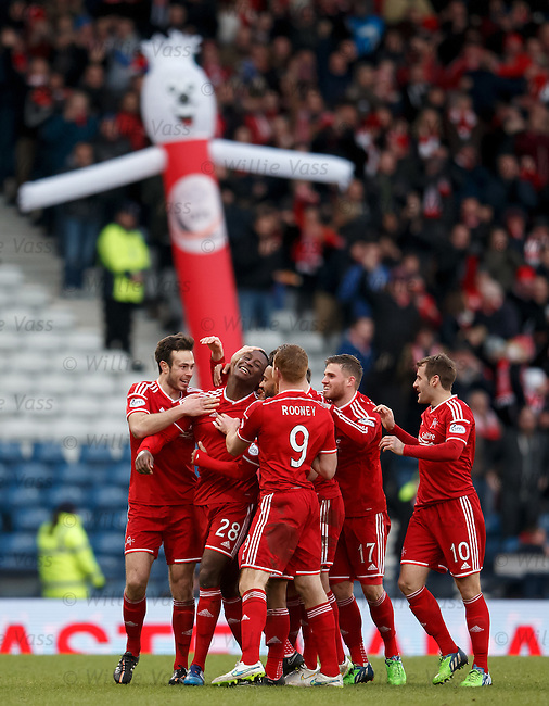 Donervon Daniels celebrates his goal for Aberdeen