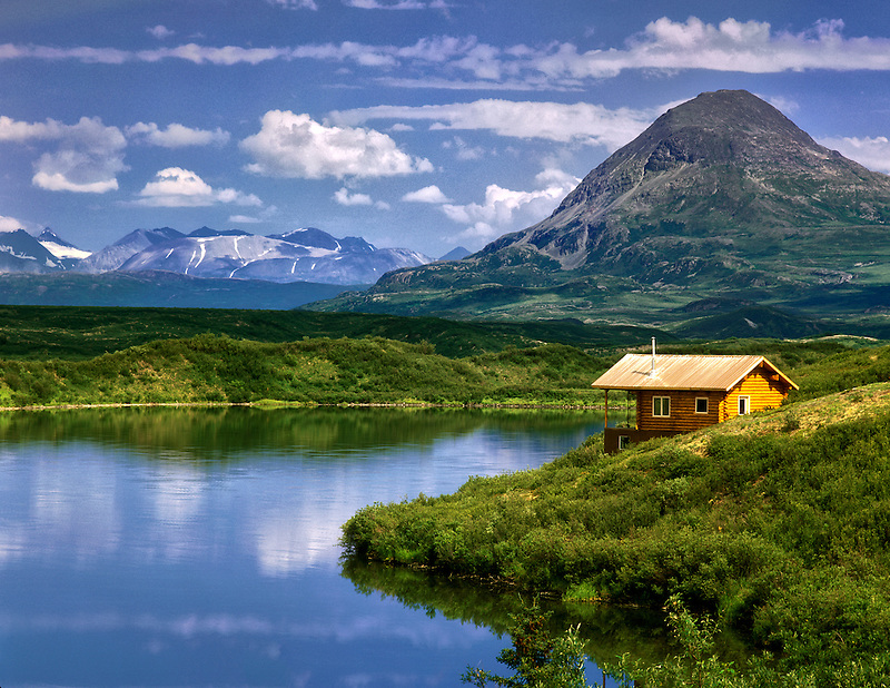 Cabin on shore of Tangle Lake, alaska