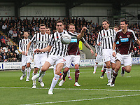 Kenny McLean clears in the St Mirren v Heart of Midlothian Clydesdale Bank Scottish Premier League match played at St Mirren Park, Paisley on 15.9.12.