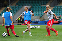 Elise Hughes of Wales Women's' during the pre-match warm-up for the Women's International Friendly match between Wales and New Zealand at the Cardiff International Sports Stadium in Cardiff, Wales, UK. Tuesday 04 June, 2019