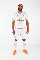 Wednesday 06 May 2015<br /> Pictured: Ashley Williams in home kit<br /> Re: Swansea City FC new Adidas kit at Fairwood Training Ground.