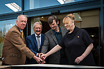 From left: Roddy Deans, Piper, Drew McKenzie Smith, Custodian of Lindores Abbey, Richard Paterson, 'The Nose', Master Distiller, Ian Rankin, author and whisky aficionado and Helen McKenzie Smith, Custodian of Lindores Abbey. Lindores Abbey Distillery in Fife, site of the first recorded whisky distillation in Scotland, opens its doors after 500 years. Drew McKenzie Smith and his wife Helen - custodians of Lindores Abbey - unveiled the &pound;7 million visitor centre and distillery today (Thursday, 5th October, 2017) in a ceremony opened by one of Fife&rsquo;s favourite sons and whisky fan, author Ian Rankin, who welcomed future generations of whisky pilgrims through the doors of the innovative new distillery. 05 Oct 2017 Lindores, Newburgh, Fife. Copyright photograph by Tina Norris. Further info: Fiona Leith, River PR, 07484 312 838 fionaleith@riverpublicrelations.co.uk <br /> Not to be archived or reproduced without prior permission and payment. Contact Tina on 07775 593 830 info@tinanorris.co.uk www.tinanorris.co.uk http://tinanorris.photoshelter.com