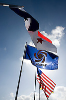 The flags of the participating countries fly over the field during the group stage of the CONCACAF Men's Under 17 Championship at Jarrett Park in Montego Bay, Jamaica. The USA defeated Panama, 1-0.