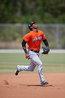 Miami Marlins Marcos Rivera (17) during a Minor League Spring Training game against the St. Louis Cardinals on March 26, 2018 at the Roger Dean Stadium Complex in Jupiter, Florida.  (Mike Janes/Four Seam Images)