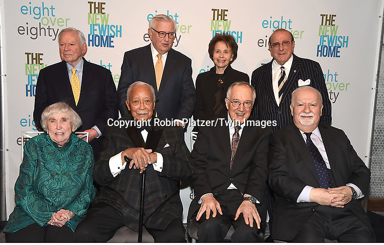 The Eight Honorees, back row, John G Heimann, Roy Zuckerberg, Marilyn Berger, Clive Davis, Front row, Elizabeth McCormack, Mayor David Dinkins, Stephen Solender and Vartan Gregorian attend The New Jewish Home Gala Honoring 8 Over 80 on March 12, 2018 at the Ziegfeld Ballroom in New York, New York, USA.<br /> <br /> photo by Robin Platzer/Twin Images<br />  <br /> phone number 212-935-0770