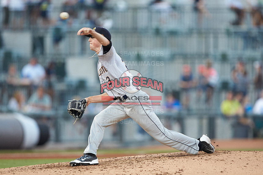 Charleston RiverDogs starting pitcher Phillip Diehl (3) delivers a pitch to the plate against the Columbia Fireflies at Spirit Communications Park on June 9, 2017 in Columbia, South Carolina.  The Fireflies defeated the RiverDogs 3-1.  (Brian Westerholt/Four Seam Images)