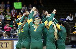 SIOUX FALLS, SD - DECEMBER 8: Alaska Anchorage huddles prior to their match against Angelo State in the Women's Division II Volleyball Championship Thursday at the Sanford Pentagon in Sioux Falls, SD.  (Photo by Dave Eggen/Inertia)