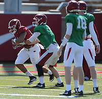 NWA Democrat-Gazette/ANDY SHUPE<br /> Arkansas running back Devwah Whaley takes the ball during a drill Saturday, April 1, 2017, during practice at the university practice field in Fayetteville. Visit nwadg.com/photos to see more photographs from practice.