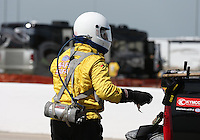 Apr. 28, 2013; Baytown, TX, USA: NHRA Safety Safari crew during the Spring Nationals at Royal Purple Raceway. Mandatory Credit: Mark J. Rebilas-