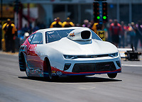 Apr 14, 2019; Baytown, TX, USA; NHRA mountain motor pro stock driver John Montecalvo during the Springnationals at Houston Raceway Park. Mandatory Credit: Mark J. Rebilas-USA TODAY Sports