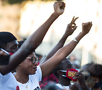 """Rome, 05/07/2020. Today, thousands of people gathered in Piazza San Giovanni to attend the """"Stati Popolari"""". The rally, organised by Aboubakar Soumahoro (1.) - Trade Union Coordinator of the Unione Sindacale di Base USB, was meant to be a popular answer by the """"Invisibles"""" to the """"Stati Generali dell'Economia"""" (States General of the Economy, 2.) of the Italian Prime Minister Giuseppe Conte, a 10-day-long meeting held in June at Villa Doria Pamphili (Villa Doria Pamphilj, 2.) where Italian and EU leaders / members of Governments, bankers, investors, advisors, met to discuss the economic recovery from the Covid-19 / Coronavirus crisis. From the organisers Facebook event page: «The Popular States will be our agora, where different realities will bring their pains and their proposals. A human square to make all the invisible visible and to give voice to all the unheard, our only symbol. The Popular States will be the communion of our needs and our struggles […]» (3.). At the end of the demo Soumahoro, who mainly deals with protection of """"Braccianti"""" (agricultural workers) rights, fights against """"caporalato"""" (illegal hiring) and the exploitation along the agricultural supply chain, gave a speech (4.) addressing the requests to the Government: - National plan for the work emergency; - Public housing program; - integral reform of the food supply chain; - radical transformation of migration policies (including, the """"right to return"""" for Italian migrants); - abolish the """"Security decrees"""" and cancel Bossi-Fini law; - reform the reception; - ecological transition strategy; - proactive interventions against discrimination and for equality.<br /> <br /> Footnotes & Links:<br /> 1. (Wikipedia.org) http://bit.do/fF4rH<br /> 2. 16.06.20 Aboubakar Soumahoro: Hunger/Thirst Strike And Meeting With Italian Prime Minister Conte http://bit.do/fGrbH<br /> 3. http://bit.do/fGrbD & https://www.facebook.com/StatiPopolari/<br /> 4. Aboubakar Soumahoro Speech: http://bit.do/fGrHv"""