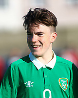 Aaron Connolly (At age 15) of Republic of Ireland U15 lines up before the game.<br /> <br /> Republic of Ireland v Netherlands, U15 International Friendly,14/4/15, Pearse Stadium, Janesboro FC, Limerick.