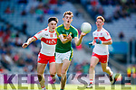 Diarmuid O'Connor Kerry in action against Fiáchra Clifford Derry in the All-Ireland Minor Footballl Final in Croke Park on Sunday.
