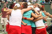23 May 2006: The team celebrate after Stanford's 4-1 win over the Miami Hurricanes in the 2006 NCAA Division 1 Women's Tennis Team Championships at the Taube Family Tennis Stadium in Stanford, CA.