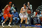 18 January 2015: Duke's Mercedes Riggs (12) and Miami's Adrienne Motley (23). The Duke University Blue Devils hosted the University of Miami Hurricanes at Cameron Indoor Stadium in Durham, North Carolina in a 2014-15 NCAA Division I Women's Basketball game. Duke won the game 68-53.
