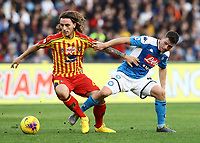 9th February 2020; Stadio San Paolo, Naples, Campania, Italy; Serie A Football, Napoli versus Lecce; Diego Demme of Napoli, Jacopo Petriccione of Lecce turns away from the challenge