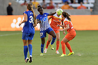 Houston, TX - Sunday Sept. 11, 2016: Eunice Beckmann, Andressa Machry during a regular season National Women's Soccer League (NWSL) match between the Houston Dash and the Boston Breakers at BBVA Compass Stadium.