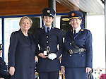 7/3/2016.   Minister for Justice and Equality Frances Fitzgerald and the Garda Commissioner Noirin O'Sullivan at the Garda graduations in the the Garda College Templemore presenting the Gary Sheehan Memorial Medal to Garda Doreen O'Connor, Ballyhar, Kerry.  Garda O'Connor will be stationed in Portlaoise.   Photograph: Liam Burke/Press 22