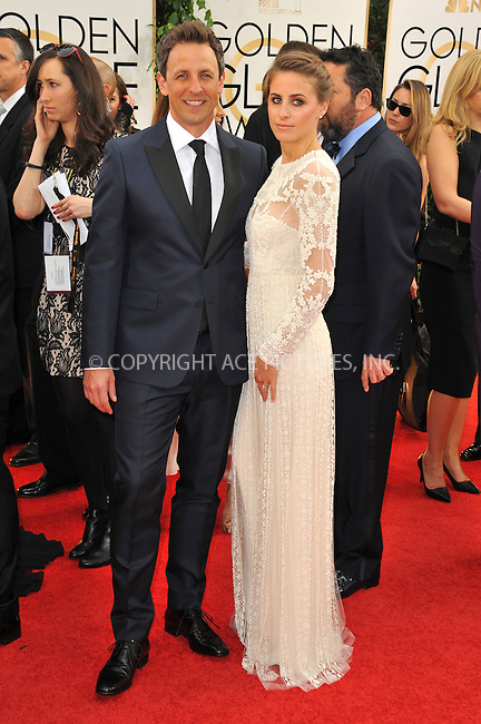 WWW.ACEPIXS.COM<br /> <br /> January 12 2014, LA<br /> <br /> Seth Meyers and Alexi Ashe arriving at the 71st Annual Golden Globe Awards held at The Beverly Hilton Hotel on January 12, 2014 in Beverly Hills, California<br /> <br /> By Line: Peter West/ACE Pictures<br /> <br /> <br /> ACE Pictures, Inc.<br /> tel: 646 769 0430<br /> Email: info@acepixs.com<br /> www.acepixs.com