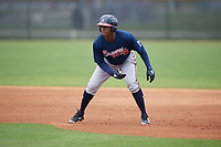 Atlanta Braves Jeremy Fernandez leads off first base during a Minor League Spring Training game against the New York Yankees on March 12, 2019 at New York Yankees Minor League Complex in Tampa, Florida.  (Mike Janes/Four Seam Images)