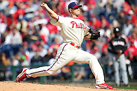 Philadelphia Phillies pitcher Jonathan Papelbon #58 during their home opener against the Miami Marlins at Citizens Bank Park on April 9, 2012 in Philadelphia, Pennsylvania.  Miami defeated Philadelphia 6-2.  (Mike Janes/Four Seam Images)