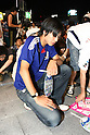 June 19, 2010 - Tokyo, Japan - A Japanese fan reacts as he watch the public viewing of the 2010 World Cup football match Netherlands vs Japan at Shibuya district in Tokyo, Japan, on June 19, 2010. The Netherlands defeated Japan 1-0.