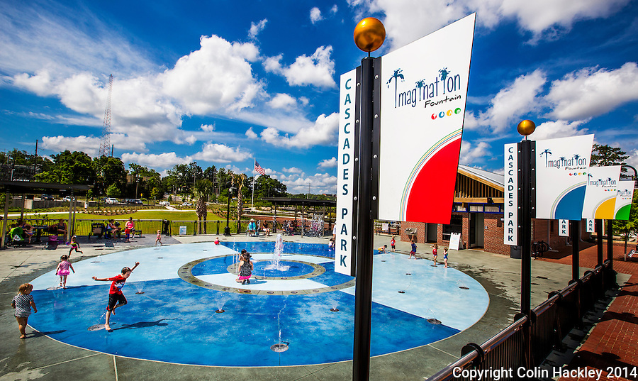 Cascades Park's Imagination Fountain in downtown Tallahassee is both a water sculpture and a play area.  <br /> <br /> COLIN HACKLEY PHOTO