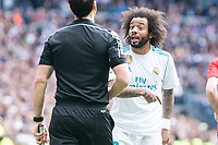 Real Madrid Marcelo  talking with the referee during La Liga match between Real Madrid and Atletico de Madrid at Santiago Bernabeu Stadium in Madrid, Spain. April 08, 2018. (ALTERPHOTOS/Borja B.Hojas) /NortePhoto NORTEPHOTOMEXICO