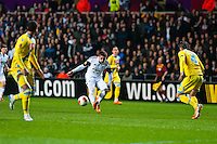 Swansea, UK. Thursday 20 February 2014<br /> Pictured: Pablo Hernandez tries to work through the Napoli defence<br /> Re: UEFA Europa League, Swansea City FC v SSC Napoli at the Liberty Stadium, south Wales, UK