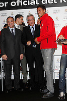 Real Madrid player Raphael Varane (r) and the President Florentino Perez participate and receive new Audi during the presentation of Real Madrid's new cars made by Audi at the Jarama racetrack on November 8, 2012 in Madrid, Spain.(ALTERPHOTOS/Harry S. Stamper) .<br />