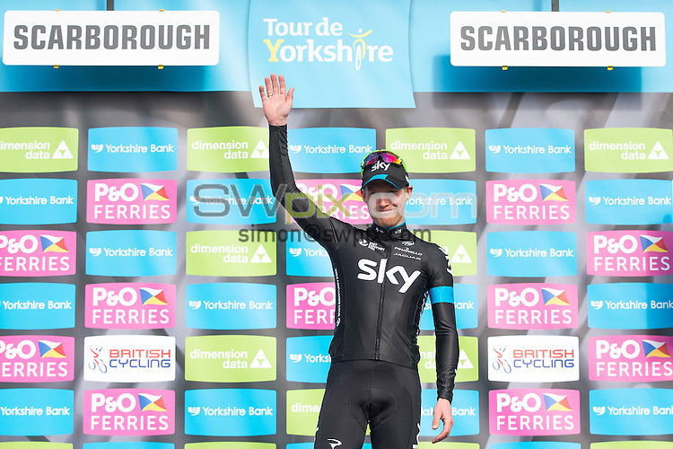 Picture by Alex Whitehead/SWpix.com - 01/05/2015 - Cycling - 2015 Tour de Yorkshire: Stage 1, Bridlington to Scarborough - Lars Petter Nordhaug of Team Sky wins Stage 1 in Scarborough.