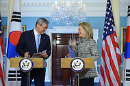 March 9, 2012  (Washington, DC)  U.S. Secretary of State Hillary Rodham Clinton held a joint press availability with Republic of Korea Foreign Minister Kim Sung-hwan following a bilateral meeting at the State Department in Washington. (Photo by Don Baxter/Media Images International)