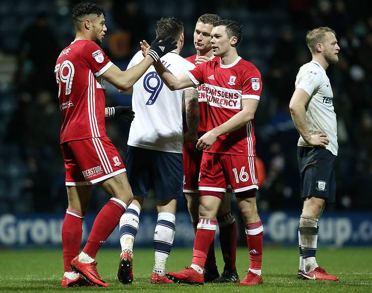 Middlesbrough's Rudy Gestede (left) and Jonathan Howson celebrate at the final whistle<br /> <br /> Photographer Rich Linley/CameraSport<br /> <br /> The EFL Sky Bet Championship - Preston North End v Middlesbrough - Monday 1st January 2018 - Deepdale Stadium - Preston<br /> <br /> World Copyright &copy; 2018 CameraSport. All rights reserved. 43 Linden Ave. Countesthorpe. Leicester. England. LE8 5PG - Tel: +44 (0) 116 277 4147 - admin@camerasport.com - www.camerasport.com