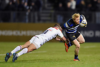 Tom Homer of Bath Rugby looks to get past Tom Hardwick of Leicester Tigers. Anglo-Welsh Cup match, between Bath Rugby and Leicester Tigers on November 10, 2017 at the Recreation Ground in Bath, England. Photo by: Patrick Khachfe / Onside Images