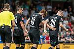 20.07.2019, Heinz-Dettmer-Stadion, Lohne, GER, Interwetten Cup, SV Werder Bremen vs 1. FC Koeln<br /> <br /> im Bild<br /> Jubel 1:0, Joshua Sargent (Werder Bremen #19) bejubelt seinen Treffer zum 1:0 mit Marco Friedl (Werder Bremen #32) und Davy Klaassen (Werder Bremen #30), <br /> <br /> Foto © nordphoto / Ewert