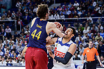Real Madrid's Gustavo Ayon and FC Barcelona Lassa's Ante Tomic during Liga Endesa match between Real Madrid and FC Barcelona Lassa at Wizink Center in Madrid, Spain. March 12, 2017. (ALTERPHOTOS/BorjaB.Hojas)