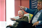 James Lovelock (b 1919), scientist and originator of the Gaia Theory, with David Freeman at the Oxford Martin School, during the FT Weekend Oxford Literary Festival, Oxford, UK. Tuesday 29 March 2014.<br /> <br /> PHOTO COPYRIGHT Graham Harrison<br /> graham@grahamharrison.com<br /> <br /> Moral rights asserted.