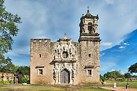 This is the historic Mission San José y San Miguel de Aguayo a Catholic mission in San Antonio, Texas, United States. This is one of the many mission built back in the 1700s that have been well preserved and or still functioning as a church today. This historic landmark was a spanish mission community which was design to convert the indians of the area to the catholic religion.  These missions are now part of the world heritage site, along with the San Antonio Missions National historic Park.  These mission are visited by  many tourist and they have become a travel destination for many who visit San Antonio. Watermark will not appear on image