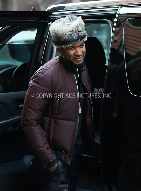 WWW.ACEPIXS.COM<br /> <br /> January 22 2015, New York City<br /> <br /> Singer Usher arrives at a downtown hotel on January 22 2015 in New York City<br /> <br /> By Line: Zelig Shaul/ACE Pictures<br /> <br /> <br /> ACE Pictures, Inc.<br /> tel: 646 769 0430<br /> Email: info@acepixs.com<br /> www.acepixs.com