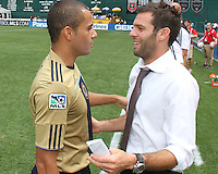 Ben Olsen of D.C. United talks to Fred #7 of the Philadelphia Union during an MLS match at RFK Stadium on August 22 2010, in Washington DC. United won 2-0.