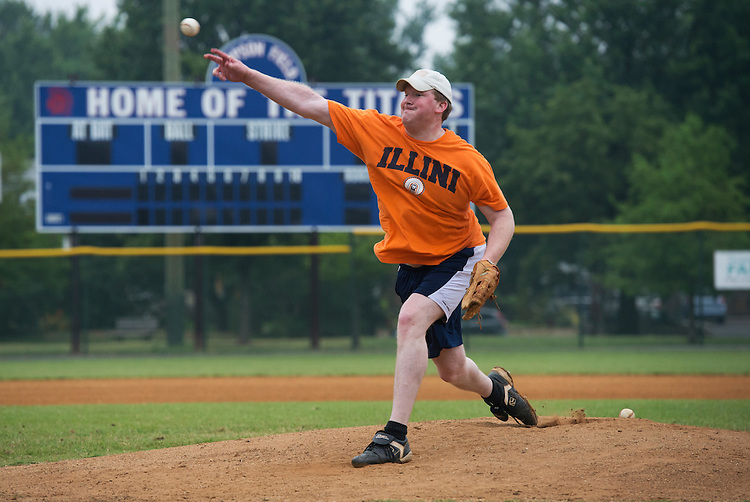 UNITED STATES - JUNE 1:  Candidate for Congress Jason Plummer, R-Ill., pitches during republican baseball practice at Simpson Stadium in Alexandria, Va.  (Photo By Tom Williams/CQ Roll Call)