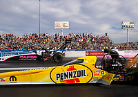 Oct 30, 2016; Las Vegas, NV, USA; NHRA top fuel driver Steve Torrence (far) alongside Leah Pritchett during the Toyota Nationals at The Strip at Las Vegas Motor Speedway. Mandatory Credit: Mark J. Rebilas-USA TODAY Sports