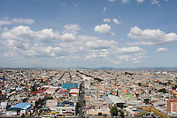 Panoramic views of Ciudad Nezahualcoyotl, part of Mexico City's urban sprawl.