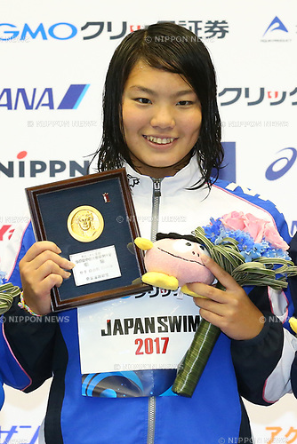 Yukimi Moriyama, <br /> APRIL 16, 2017 - Swimming : <br /> Japan swimming championship (JAPAN SWIM 2017) <br /> Women's 1500m Freestyle Victory Ceremony <br /> at Nippon Gaishi Arena, Nagoya, Aichi, Japan. <br /> (Photo by Sho Tamura/AFLO SPORT)