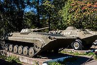 Russia, Sakhalin, Yuzhno-Sakhalinsk. An exhibition of old-style Soviet era military vehicles.