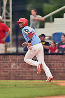 Johnson City Cardinals shortstop Allen Cordoba (50) runs to first base during a game against the Danville Braves at Howard Johnson Field at Cardinal Park on July 26, 2016 in Johnson City, Tennessee. The Braves defeated the Cardinals 10-8. (Tony Farlow/Four Seam Images)