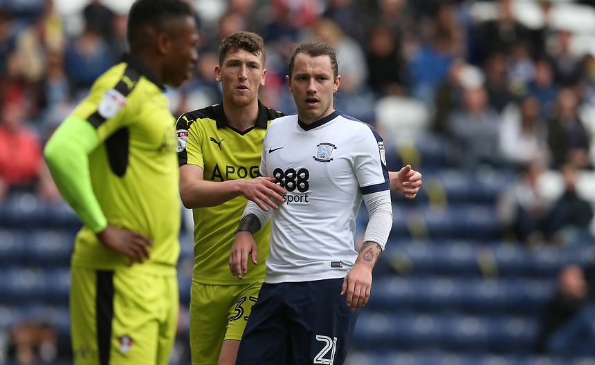 Preston North End's Stevie May closely marked by Rotherham United's Richard Smallwood<br /> <br /> Photographer Stephen White/CameraSport<br /> <br /> The EFL Sky Bet Championship - Preston North End v Rotherham United - Saturday 29th April 2017 - Deepdale - Preston<br /> <br /> World Copyright &copy; 2017 CameraSport. All rights reserved. 43 Linden Ave. Countesthorpe. Leicester. England. LE8 5PG - Tel: +44 (0) 116 277 4147 - admin@camerasport.com - www.camerasport.com