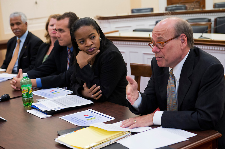 "UNITED STATES - OCTOBER 04:  Rep. Steve Cohen, R-Tenn., right, speaks at a briefing in Rayburn hosted by the Congressional Black Caucus and the Congressional Progressive Caucus entitled ""Employment Credit Checks: Unwarranted Barrier to Employment.""  Also attending from left are, Hilary Shelton, director of the NAACP Washington Bureau, Sarah Crawford, of the National Partnership for Women and Families, Jose Garcia, of the National Council of La Raza, and Tanya Clay House, of the Lawyers' Committee for Civil Rights Under Law. (Photo By Tom Williams/CQ Roll Call)"