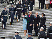 United States President Donald Trump (2nd-L), First Lady Melania Trump, Vice President Mike Pence and his wife Karen watch as former President Barack Obama departs the inauguration, on Capitol Hill in Washington, D.C. on January 20, 2017. President-Elect Donald Trump was sworn-in as the 45th President.    <br /> Credit: Kevin Dietsch / Pool via CNP